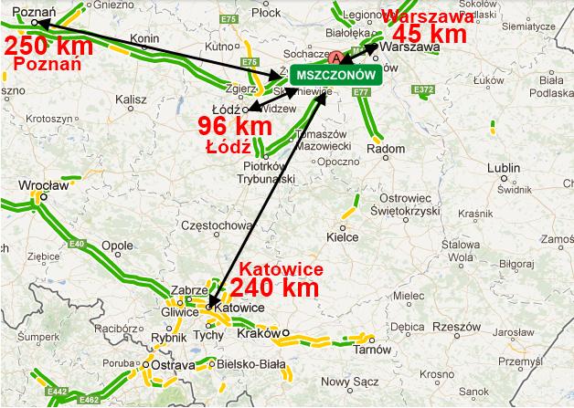 Odległości od największych miast Polski
